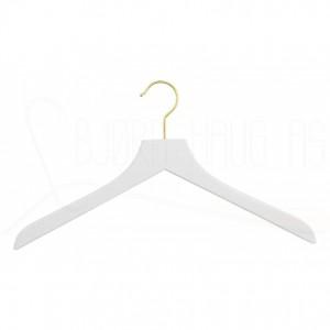 Kleshenger til gensere og skjorter i hvitlakkert bøk med krok i gull Art 41PLAN-6