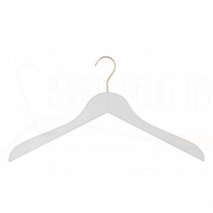 Kleshenger til gensere og skjorter i hvitlakkert bøk med krok i gull Art 41-6